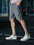 Мужские классические шорты в клетку, серые мужские классические шорты, серые шорты в клетку, фото 2