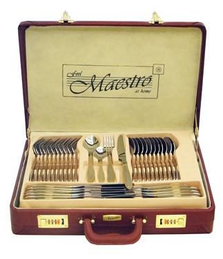 Столовый набор Maestro MR-1519-72 Фраже 72 предмета | Набор столовых предметов в чемодане