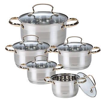 Набор посуды Maestro MR-3516-10 10 предметов нержавеющая сталь золотые ручки