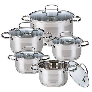 Набор посуды Maestro MR-3520-10 10 предметов нержавеющая сталь | Кастрюли с крышками