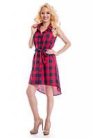 Женское летнее платье в клетку Lipar Красное
