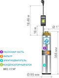 Погружной насос Водолей БЦПЭУ 0,5-16У 1.8m3/h-3.6m3/h(max), фото 3
