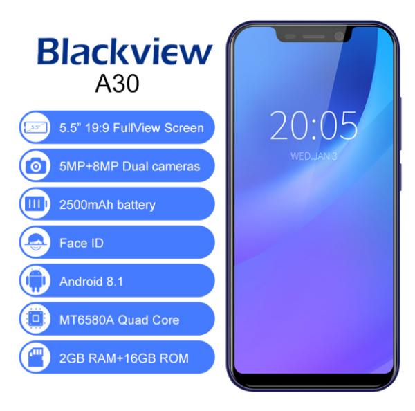 Смартфон Blackview A30 2/16Gb. Телефон (синего цвета)