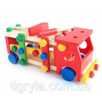 Деревянная машинка конструктор с инструментами, фото 2