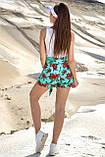 Женские летние шорты из льна с красными крупными цветами. На высокой талии. Голубые, бирюзовые, фото 2