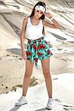 Женские летние шорты из льна с красными крупными цветами. На высокой талии. Голубые, бирюзовые, фото 5