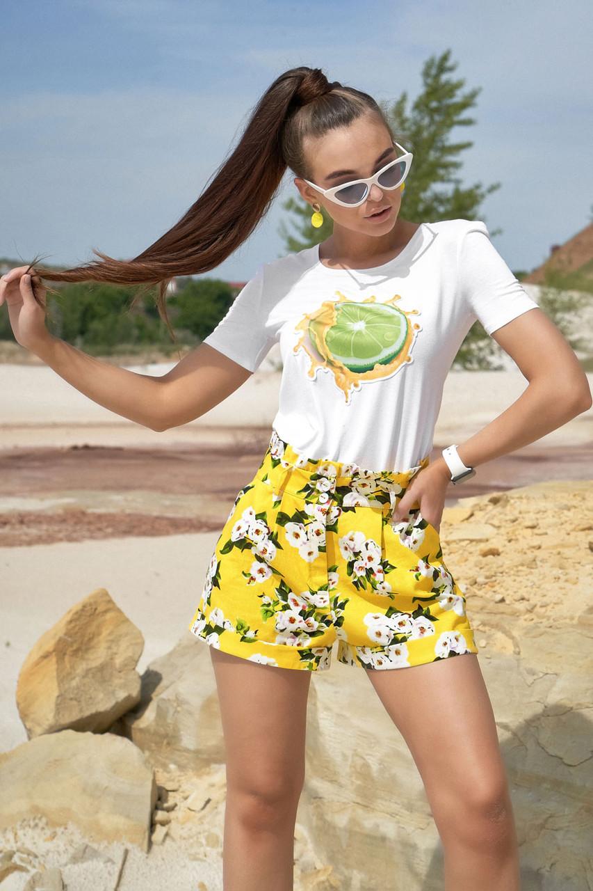 Жіночі літні шорти з льону з білими квітами. На високій талії. Жовті