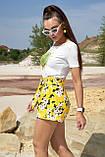 Жіночі літні шорти з льону з білими квітами. На високій талії. Жовті, фото 2
