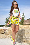 Жіночі літні шорти з льону з білими квітами. На високій талії. Жовті, фото 3