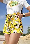 Жіночі літні шорти з льону з білими квітами. На високій талії. Жовті, фото 4