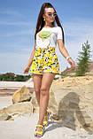 Жіночі літні шорти з льону з білими квітами. На високій талії. Жовті, фото 5