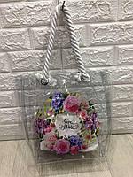 Наплечная сумка шоппер прозрачная с цветами, (в комплекте косметичка), пляжная сумка р. 39х34