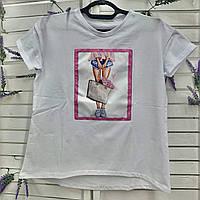Качественная летняя женская белая футболка с принтом. Женская одежда.