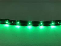Светодиодная лента самоклейка 12 В \ 1 метр, 40 диодов. Влагозащищенная диодная подсветка. Цвет зеленый.