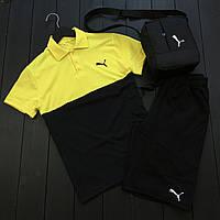 Футболка поло + Шорты Puma x black-grey мужские | спортивный костюм летний, фото 1
