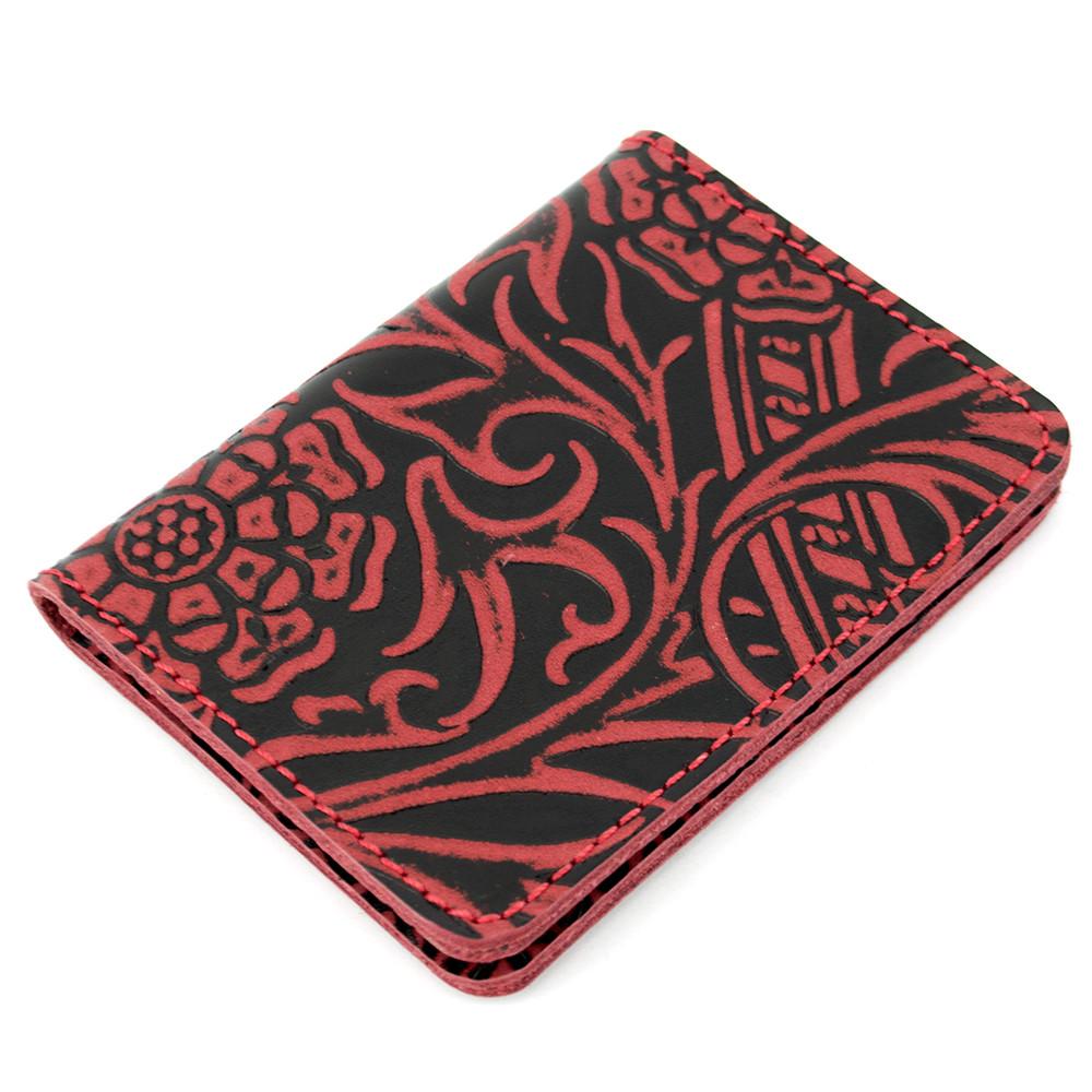 Обложка на ID паспорт, права кожаная Амелия 02 (бордовый цветок)