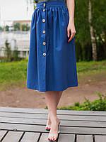 Летняя льняная юбка с сборкой синего цвета для женщин и девушек
