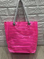 Пляжная сумка шоппер силиконовая розовая полоску, (в комплекте косметичка) р. 39х34
