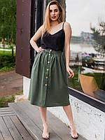 Деловая и повседневная красивая юбка хаки из льна