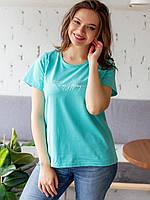 Бирюзовая женская трикотажная свободная футболка с надписью размер 48