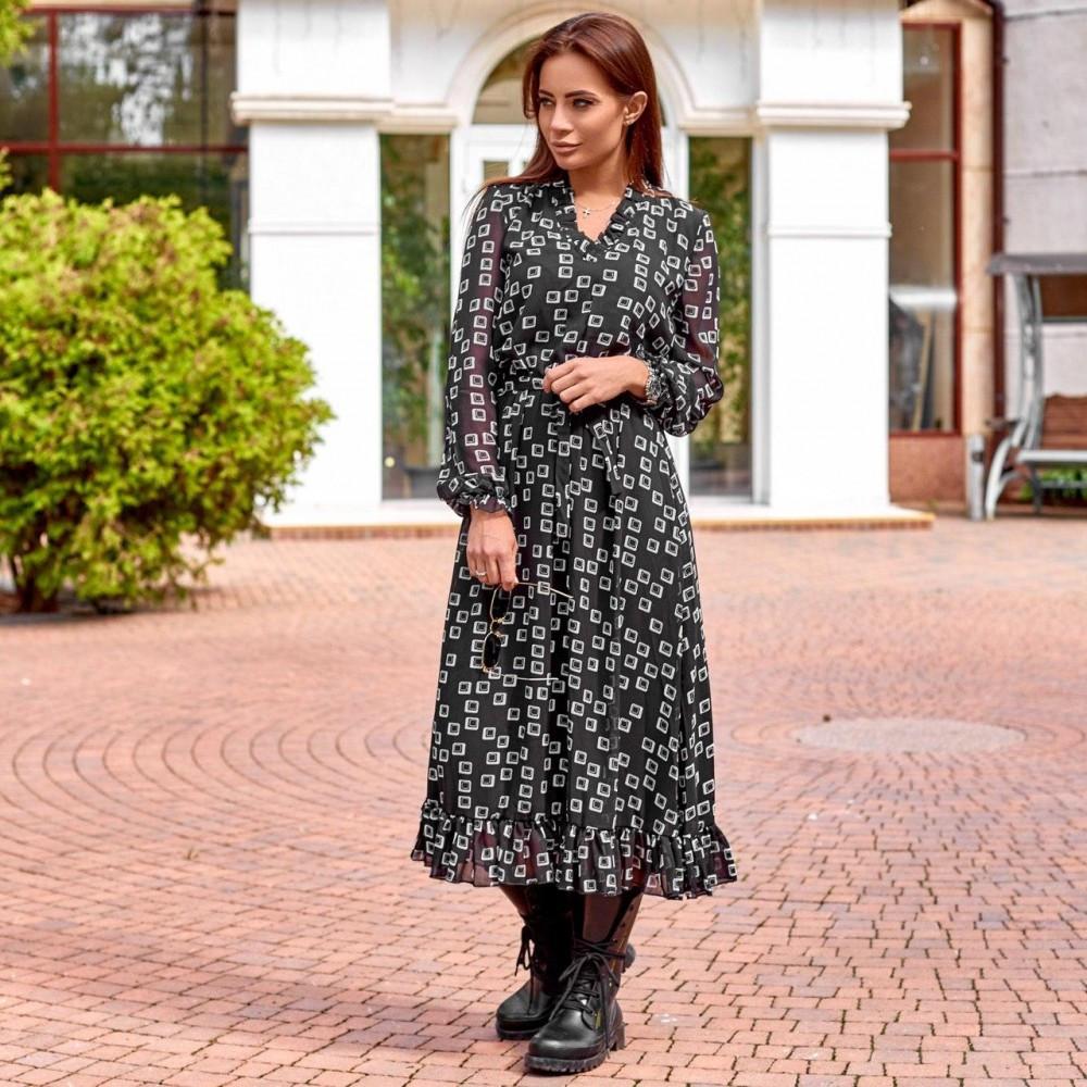 Женское шифоновое платье черное