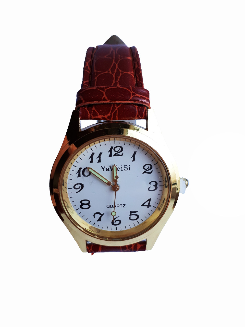 Часы YaWeiSi мужские кварцевые на рыжем ремешке золотистый, белый опт
