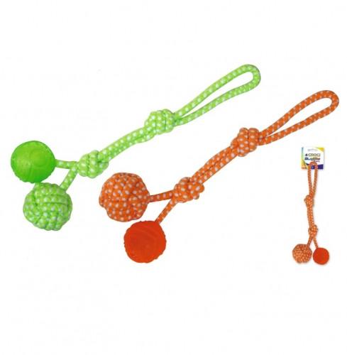 Игрушка для собак мяч на веревке 41 см Croci оранжевый