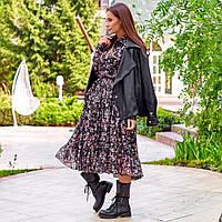 Женское шифоновое платье черное, фото 1