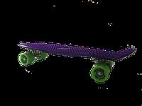 Детская доска GO Travel для катания, фиолетовая, зеленые колеса 56 см