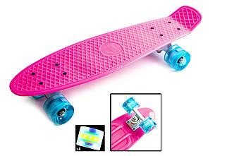 Скейт Пенни борд для девочки розовый со светящимися колесами