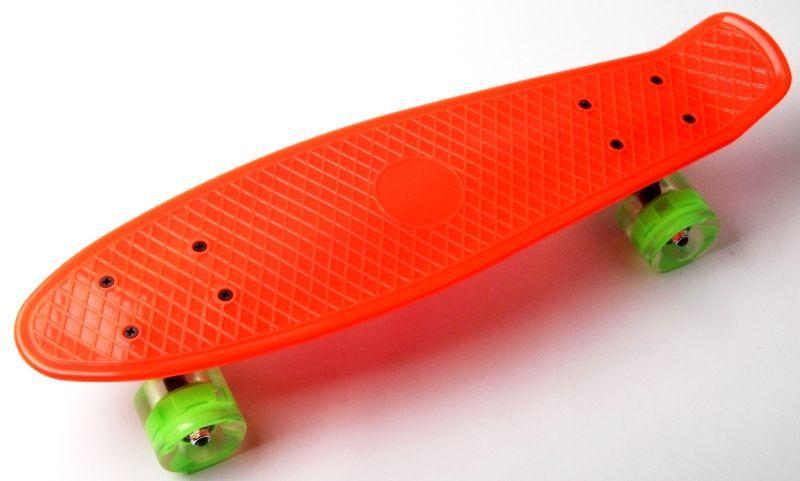 Пенни борд Penny board 22 детский со светящимися колесами  оранжевый