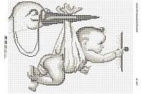 Схема для вышивания бисером ''Аист с ребенком серебряный'' А3 29x42см
