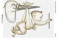 Схема для вышивания бисером ''Аист с ребенком золотистый'' А3 29x42см