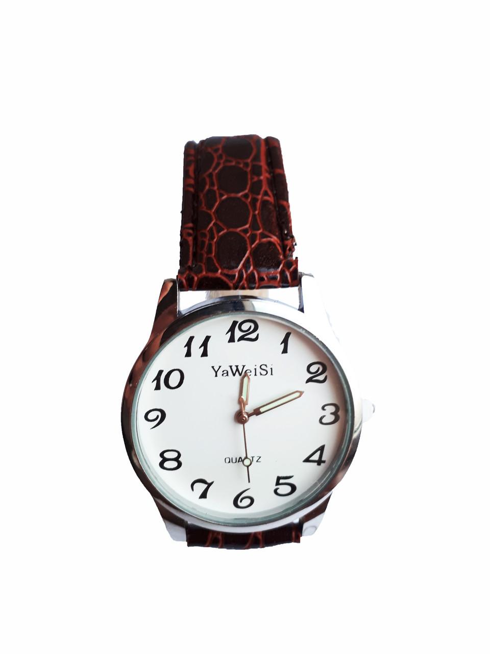 Часы YaWeiSi мужские кварцевые на коричневом ремешке серебристый, белый опт
