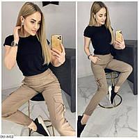 Стрейчевые джинсовые летние брюки в городском стиле с карманами по бокам арт 193