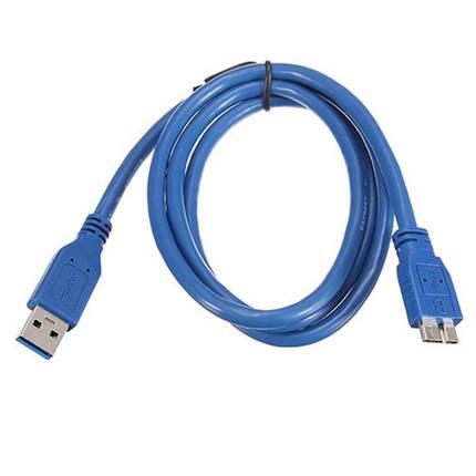 USB 3.0 Micro-B дата кабель, 1.5м, прочный, синий, фото 2