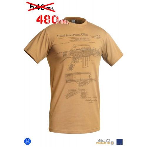 """Футболка с рисунком """"M16/AR15 Rifle Legend"""", [1174] Coyote Brown"""