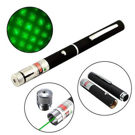 Лазер зеленый 5мВт 532нМ, лазерная указка на батарейках + насадка, фото 2