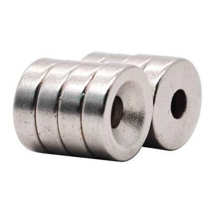 Магниты неодимовые крепежные 10x3мм N50 с отверстием зенковкой 3мм 10шт, фото 2