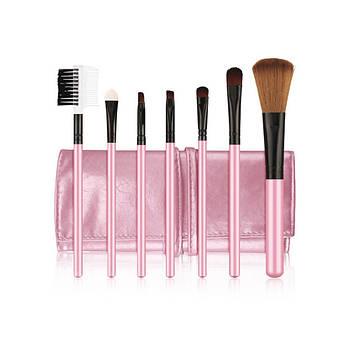 Набор кистей в чехле Bioaqua Make UP Brush Set Pink 7 шт