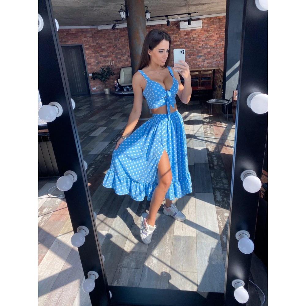 Женский летний костюм топ с юбкой голубой в горошек