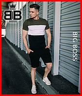 Мужской комплект   летний набор   трехцветная футболка + шорты   нашивной лампас! Цвет: хаки с белым и черным., фото 1