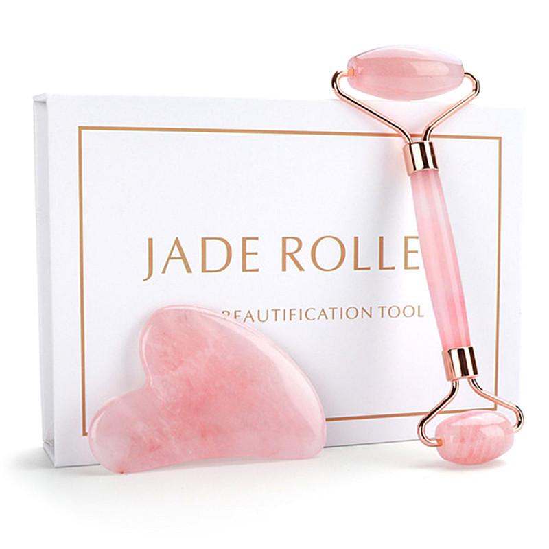 """Ролик и скребок сердце гуаша """"Jade Roller"""" из натурального розового кварца (комплект)"""