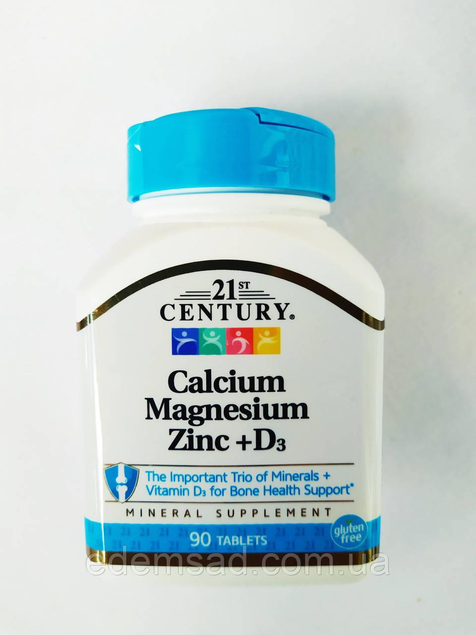 Calcium Magnesium Zinc + D3 90 Tablets 21 century, 90 таблеток