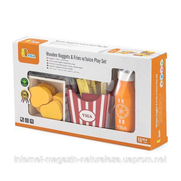 Набор кулинара Viga Toys Наггетсы, картошка фри и сок (51603)