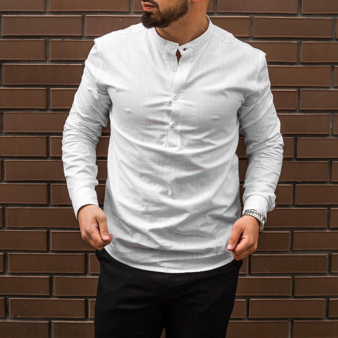 Мужская рубашка лен белая