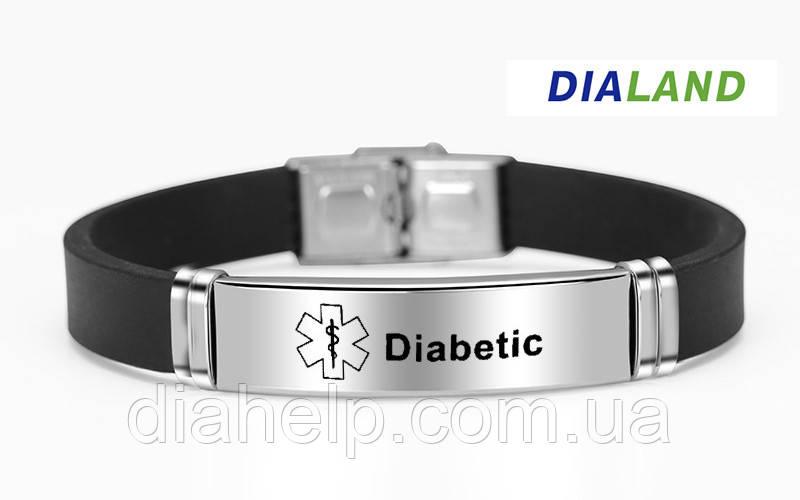 """Силиконовый браслет с металлической пластиной """"DIABETIC"""""""
