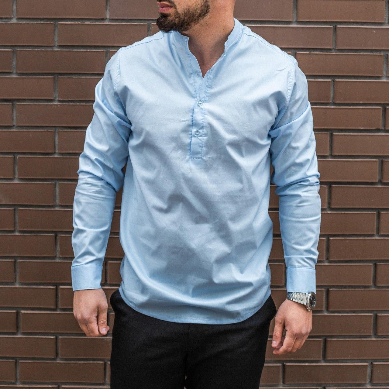 Мужская рубашка лен светло-голубая