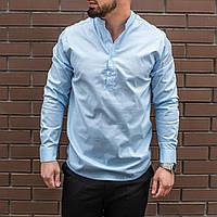 Мужская рубашка лен светло-голубая, фото 1