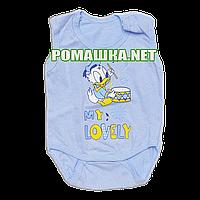 Детский боди майка р 62 (68) 1-3 месяцев без рукава рукавов для малышей летнее на лето КУЛИР 3091 Голубой 2